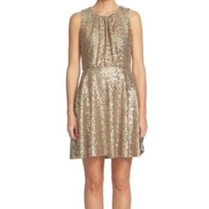 CeCe Dresses - CeCe Champagne Women's Sequin Pleated A-Line Dress